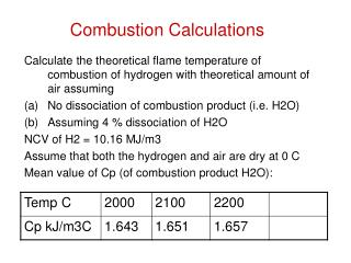 Combustion Calculations