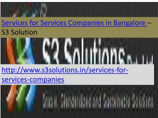 Services for Services Companies in Bangalore-S3 Solution