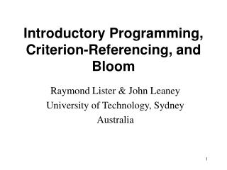 Introductory Programming, Criterion-Referencing, and Bloom