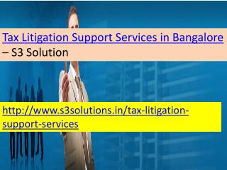 Tax Litigation Support Services in Bangalore-S3 Solution