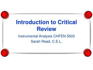 Introduction to Critical Review