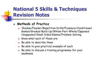 National 5 Skills & Techniques Revision Notes