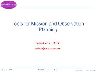 Tools for Mission and Observation Planning