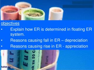objectives  	Explain how ER is determined in floating ER 	system.  	Reasons causing fall in ER – depreciation 	Reasons
