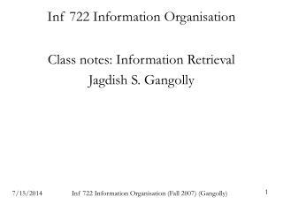 Inf 722 Information Organisation