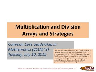 Multiplication and Division  Arrays and Strategies