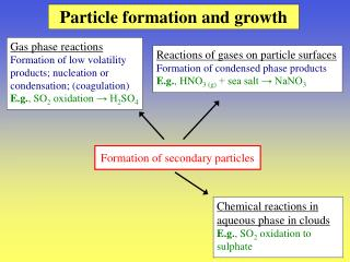 Particle formation and growth
