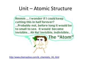 Unit – Atomic Structure