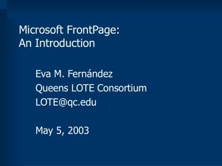 Microsoft FrontPage: An Introduction