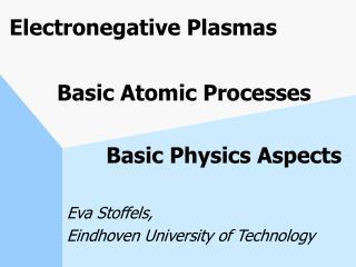 Electronegative Plasmas