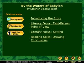 By the Waters of Babylon by  Stephen Vincent Benét