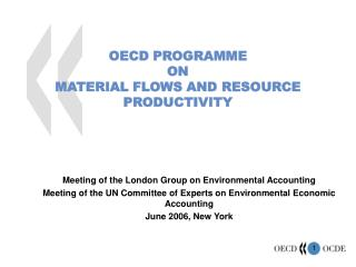 OECD PROGRAMME ON MATERIAL FLOWS AND RESOURCE PRODUCTIVITY