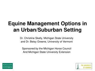 Equine Management Options in an Urban/Suburban Setting