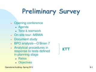 Preliminary Survey