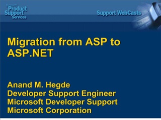 Migration from ASP to ASP    Anand M. Hegde Developer Support Engineer  Microsoft Developer Support  Microsoft Corporati