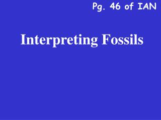 Interpreting Fossils