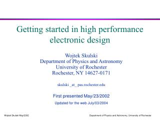 Getting started in high performance  electronic design