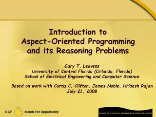 Introduction to Aspect-Oriented Programming and its Reasoning Problems