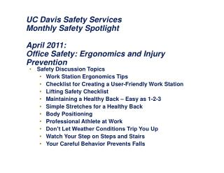 UC Davis Safety Services Monthly Safety Spotlight April 2011:  Office Safety: Ergonomics and Injury Prevention