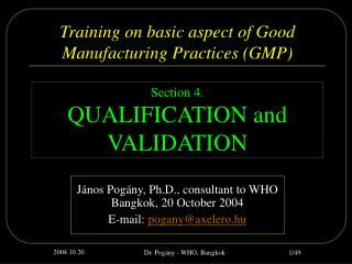 Training on basic aspect of Good Manufacturing Practices GMP