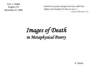 Images of Death in Metaphysical Poetry