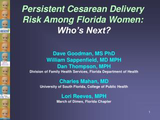 Persistent Cesarean Delivery Risk Among Florida Women: Who's Next?