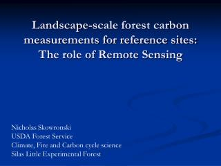 Landscape-scale forest carbon measurements for reference sites: The role of Remote Sensing