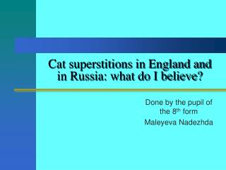 Cat superstitions in England and in Russia: what do I believe?