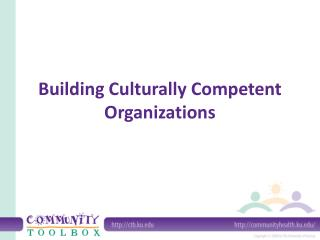 Building Culturally Competent Organizations