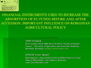 FINANCIAL INSTRUMENTS USED TO INCREASE THE ABSORPTION OF EU FUNDS BEFORE AND AFTER ACCESSION, IMPORTANT INFLUENCE ON RO