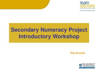 Secondary Numeracy Project  Introductory Workshop