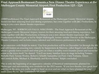 Final Approach Restaurant Presents a New Dinner Theatre Expe