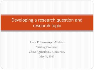 Developing a research question and research topic