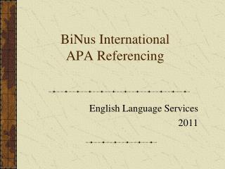 BiNus International  APA Referencing
