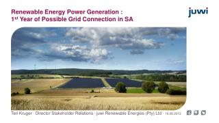 Renewable  Energy  Power Generation :  1 st  Year of Possible Grid Connection in SA
