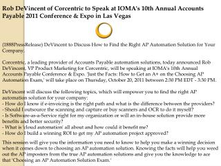 Rob DeVincent of Corcentric to Speak at IOMA's 10th Annual A