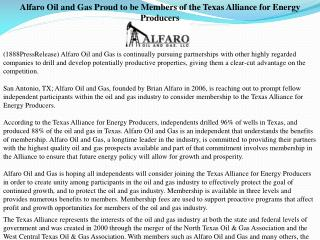 Alfaro Oil and Gas Proud to be Members of the Texas Alliance