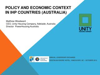 Policy and Economic Context in IHP Countries (Australia)