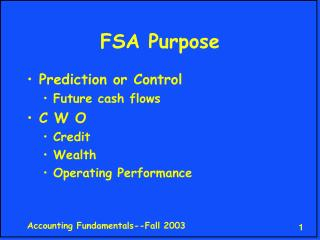 FSA Purpose