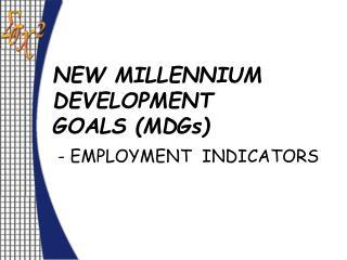 NEW MILLENNIUM DEVELOPMENT  GOALS (MDGs)  - EMPLOYMENT  INDICATORS