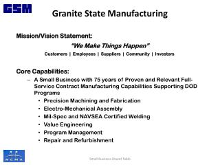 "Mission/Vision Statement : ""We Make Things Happen"" Customers  