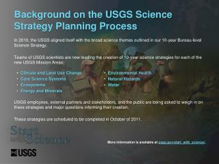Background on the USGS Science Strategy Planning Process