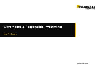 Governance & Responsible Investment: