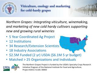 Northern Grapes: Integrating viticulture, winemaking, and marketing of new cold hardy cultivars supporting new and grow