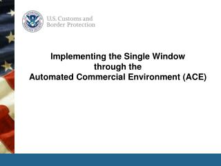 Implementing the Single Window  through the  Automated Commercial Environment (ACE)