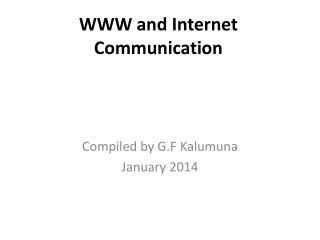 WWW and Internet Communication