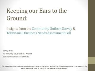 Keeping our Ears to the Ground: Insights from the  Community Outlook Survey  & Texas Small Business Needs Assessment Po