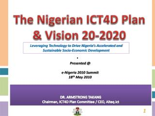The Nigerian ICT4D Plan & Vision 20-2020