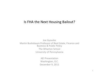 Is FHA the Next Housing Bailout?