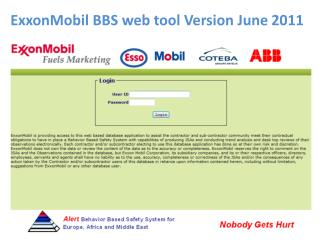 ExxonMobil BBS web tool Version June 2011